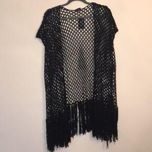 BNWT open stitch Kimono! Black!!